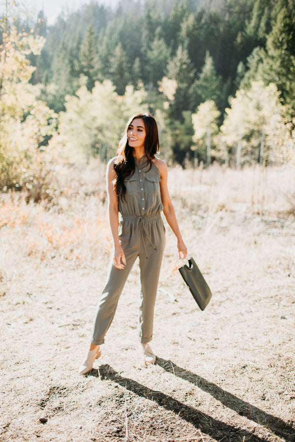 Military Chic Sleeveless Jumpsuit - Sparrow Noir