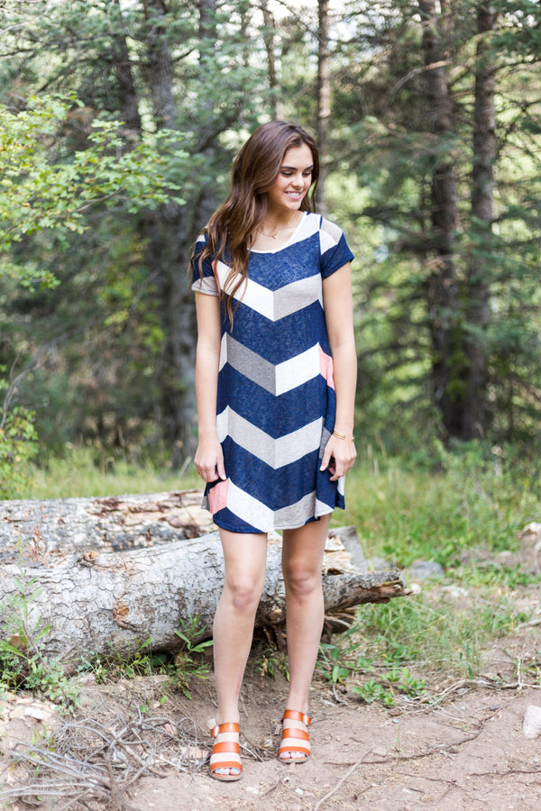 Cassidy Chevron Dress - Sparrow Noir