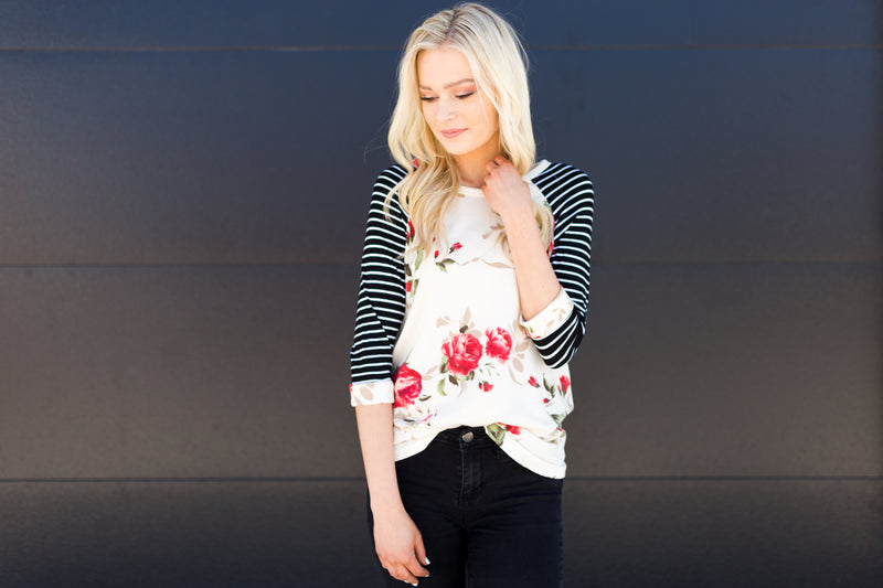 Floral and Stripe Raglan Tee - Sparrow Noir