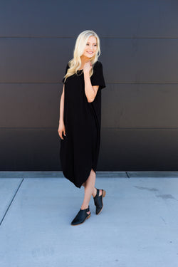 Asymmetrical Midi Dress - Sparrow Noir