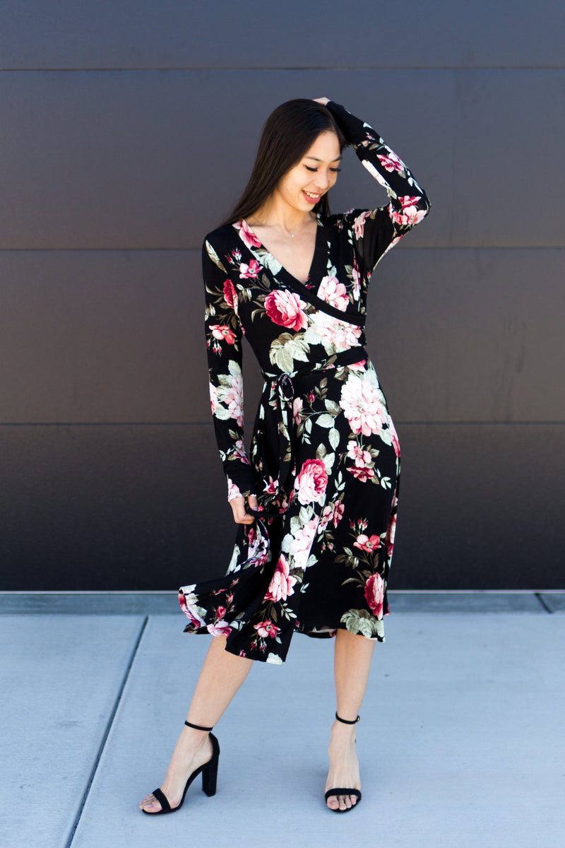 Faux Wrap Midi Dress - Sparrow Noir