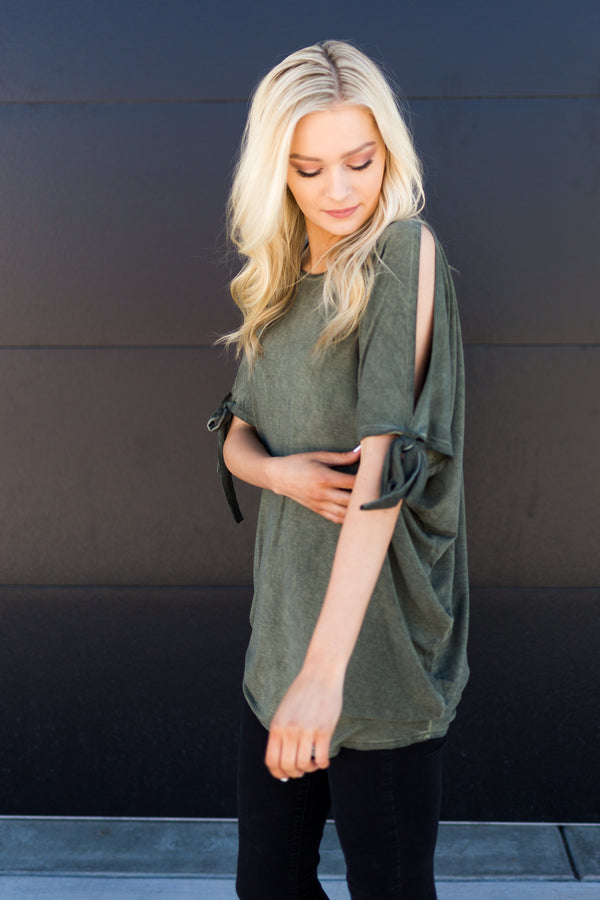 Army Green Cold Shoulder Tunic - Sparrow Noir