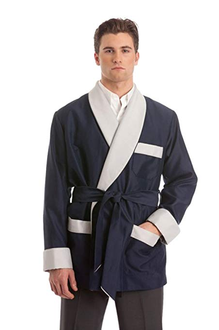 Silky Satin Smoking Jacket - Navy with Grey Facings
