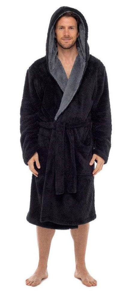 Fleece Bathrobes - Black Contrast Grey Hooded