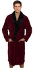 Fleece Bathrobes with Featured Shawl Collar - Burgundy & Black