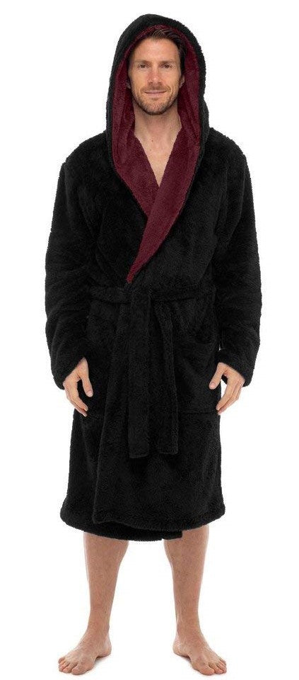 Fleece Bathrobes - Black Contrast Burgundy Hooded