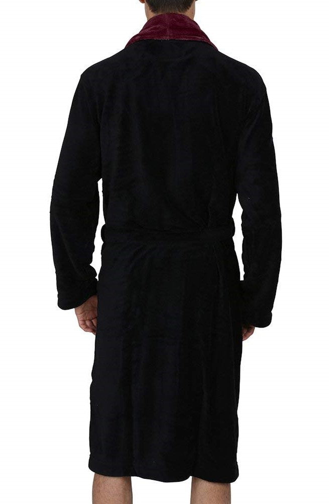 Fleece Bathrobes with Featured Shawl Collar - Black & Burgundy