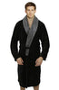 Fleece Bathrobes with Featured Shawl Collar - Black & Grey