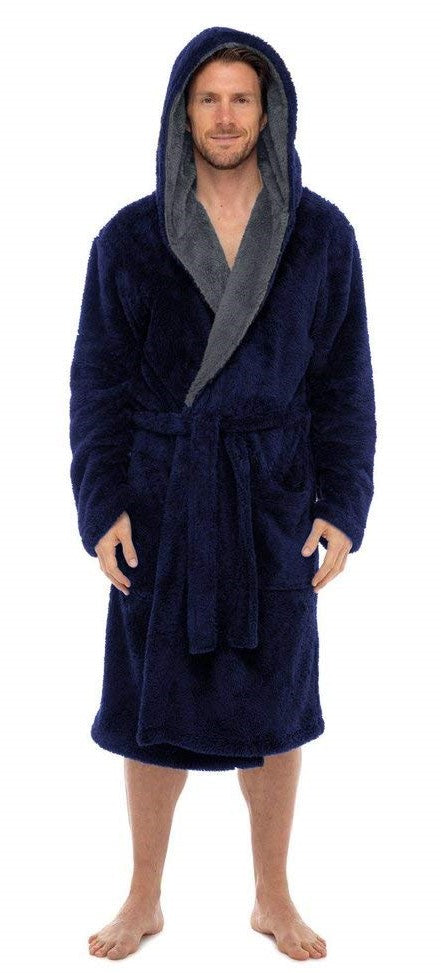 Fleece Bathrobes - Navy Contrast Grey Hooded