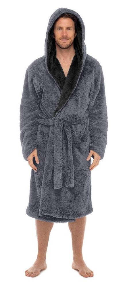 Fleece Bathrobes - Grey Contrast Black Hooded