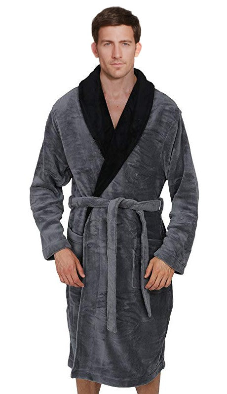 Fleece Bathrobes with Featured Shawl Collar - Grey & Black