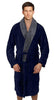 Fleece Bathrobes with Featured Shawl Collar - Navy & Grey
