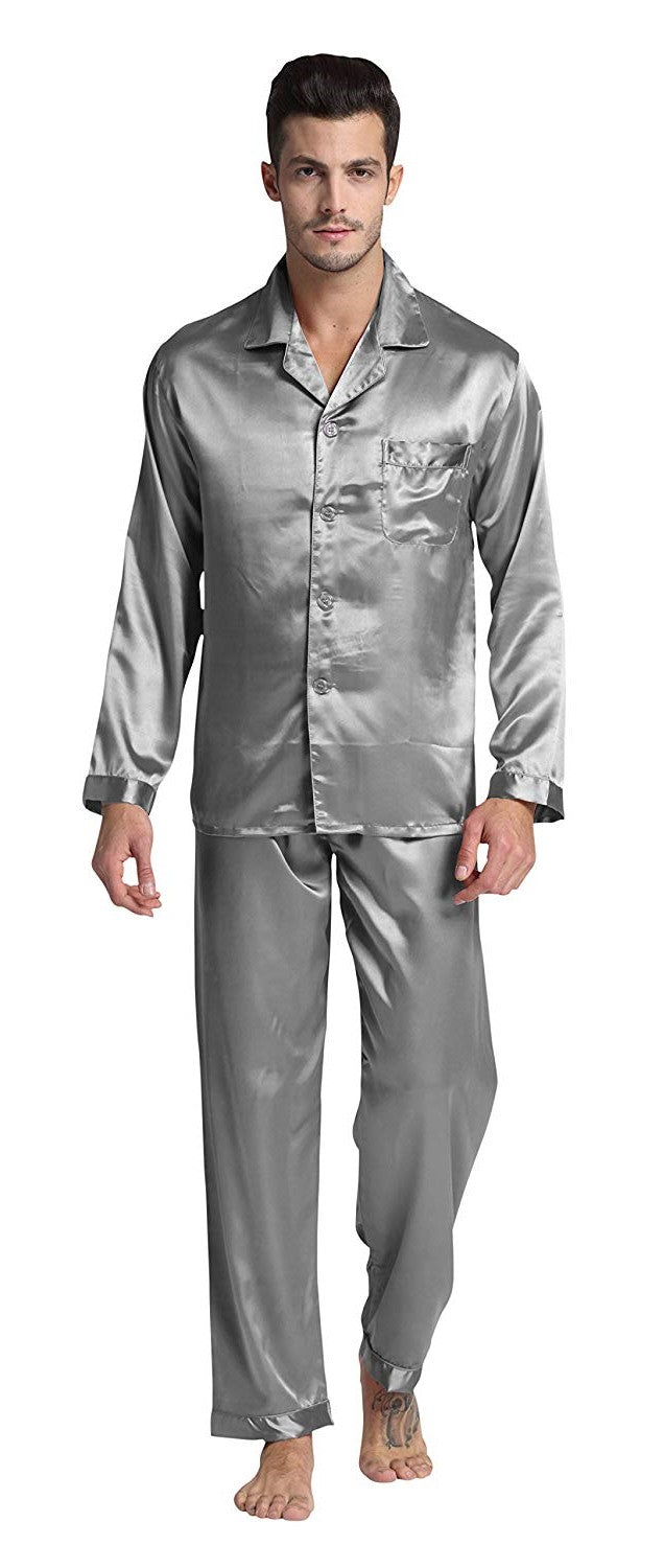 Silky Satin Pajama Set for Men - Grey
