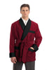 Silky Satin Smoking Jacket - Burgundy with Black Facings