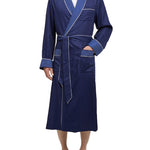 Navy Silky Satin Robe with Contrasting Blue Shawl Collar