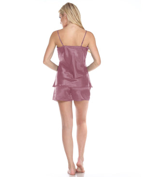 Spaghetti Top and Shorts Set for Women - Rose Pink