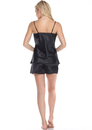Spaghetti Top and Shorts Set for Women - Black