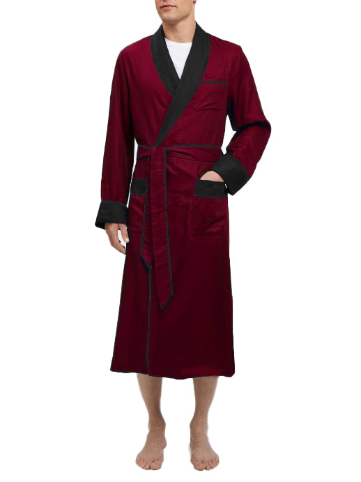 Heavyweight Burgundy Silky Satin Robe with Contrasting Black Shawl Collar