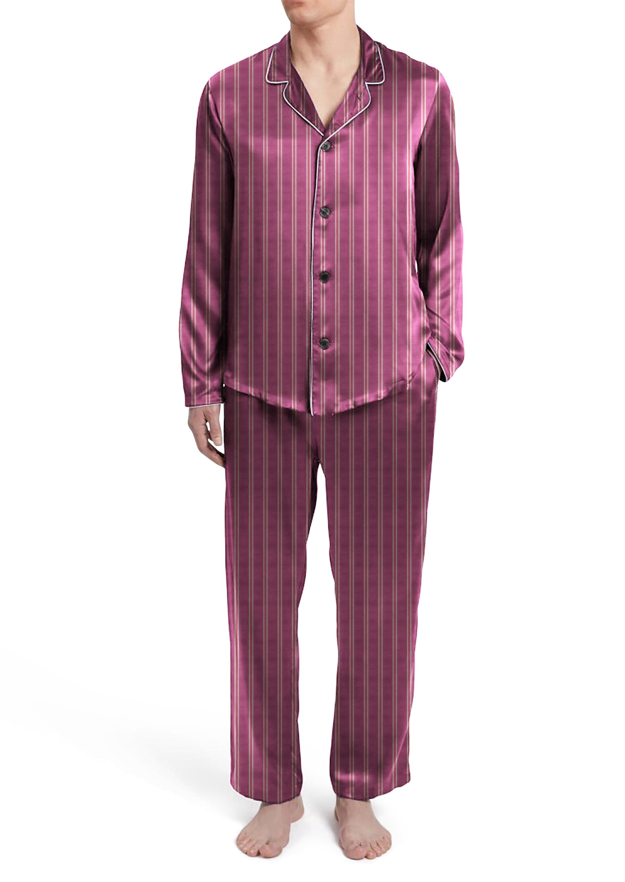 Mens Striped Silky Satin Pajama Set
