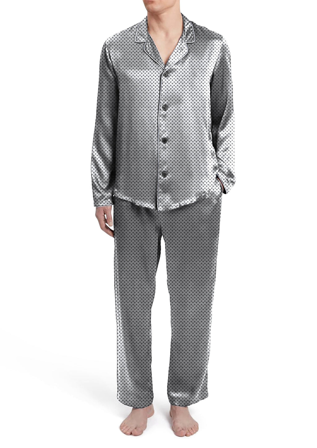Mens check Silky Satin Pajama Set