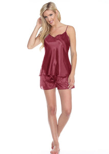 Spaghetti Top and Shorts Set for Women - Burgundy