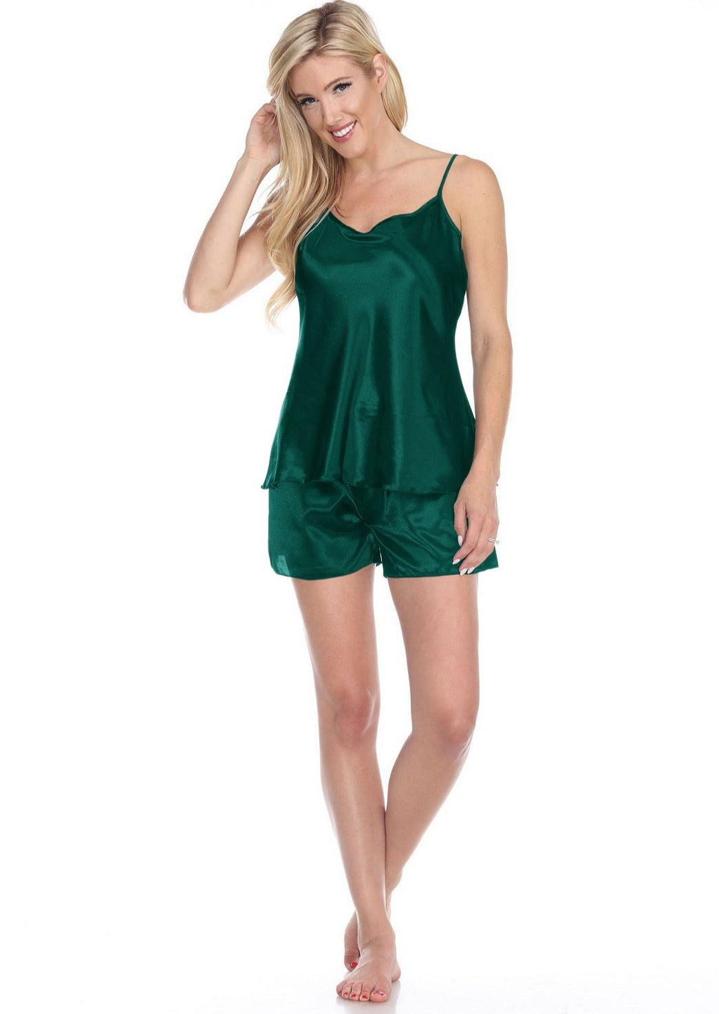 Spaghetti Top and Shorts Set for Women - Emerald Green