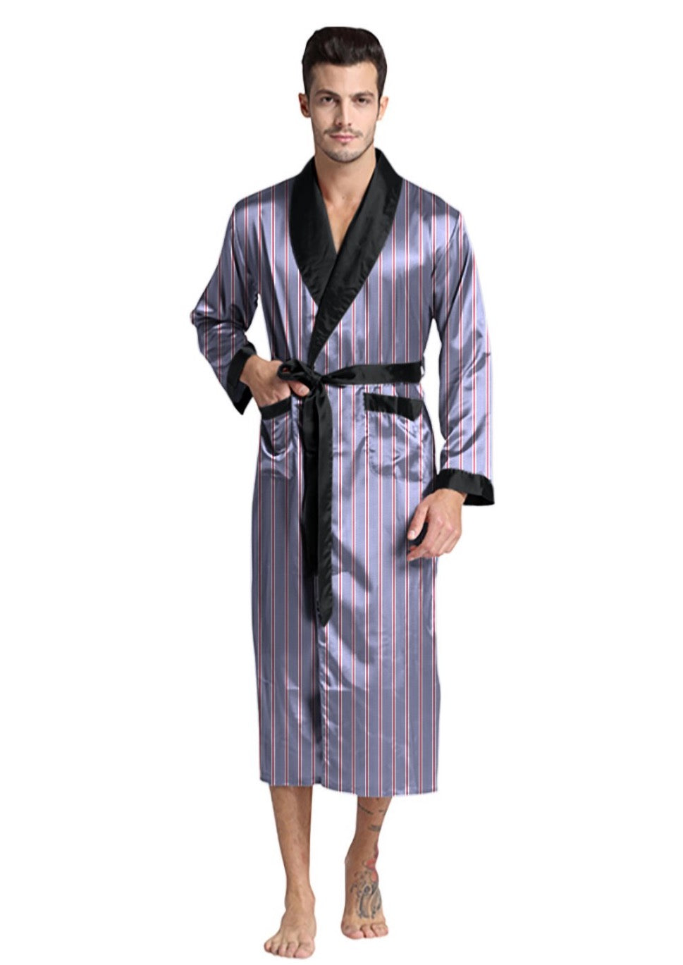 Grey Striped Robe