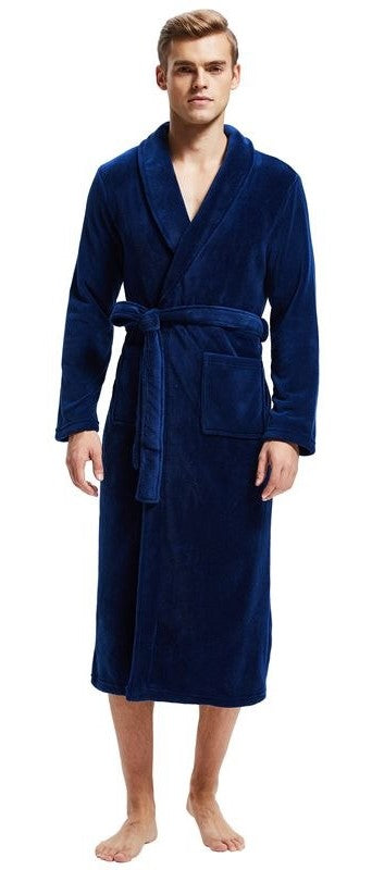 Navy Shawl Collar Fleece Bathrobe