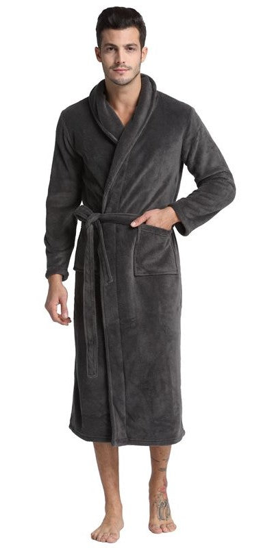 Grey Shawl Collar Fleece Bathrobe