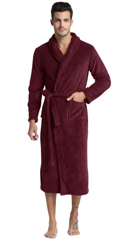 Burgundy Shawl Collar Fleece Bathrobe