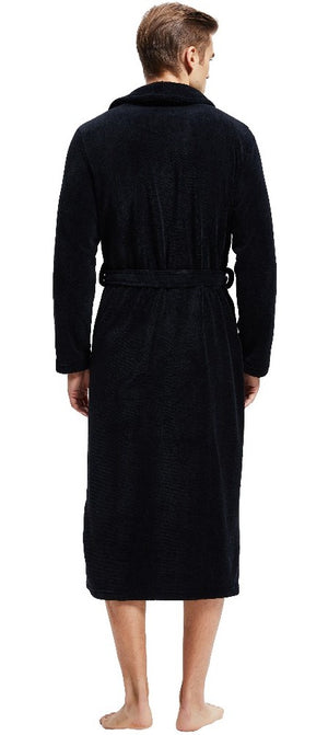 Black Shawl Collar Fleece Robe