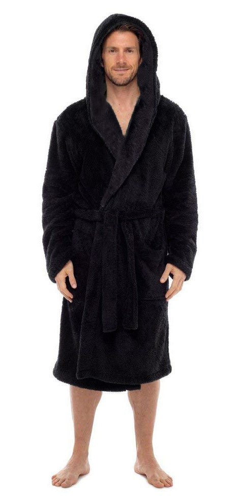 Fleece Bathrobes - Hooded Black
