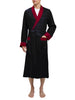 Heavyweight Black Silky Satin Robe with Contrasting Burgundy Shawl Collar