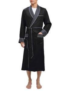 Heavyweight Black Silky Satin Robe with Contrasting  Grey Shawl Collar