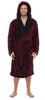 Fleece Bathrobes - Burgundy Contrast Black Hooded