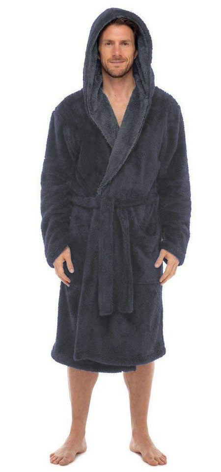 Fleece Bathrobes - Grey Hooded