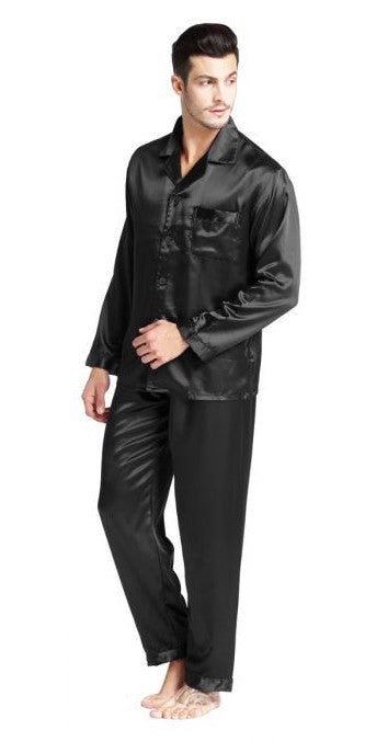 Silky Satin Pajama Set for Men - Solid Black