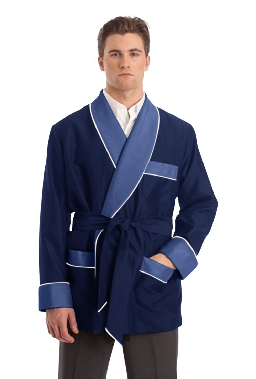 Silky Satin Smoking Jacket - Blue