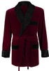 Velvet Smoking Jacket - Burgundy with Black Quilted Collar