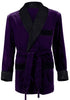 Velvet Smoking Jacket - Regal Purple with Black Quilted Collar