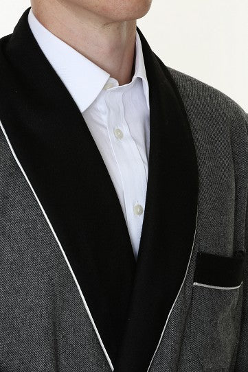 Wool Blended Grey Smoking Jacket with Black Collar