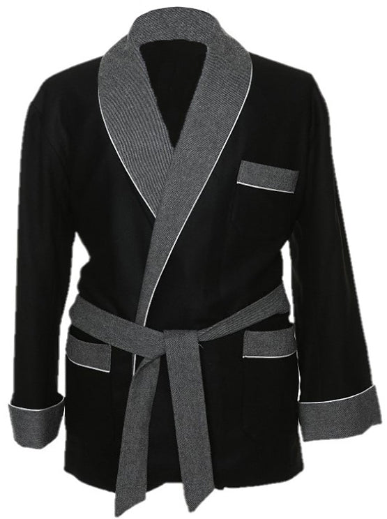Wool Blended Black Smoking Jacket with Grey Collar