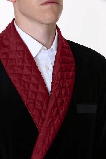 Velvet Smoking Jacket - Black with Burgundy Quilted Collar