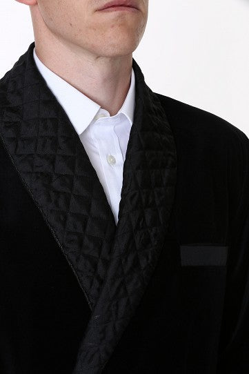 Velvet Smoking Jacket - Black with Quilted Collar