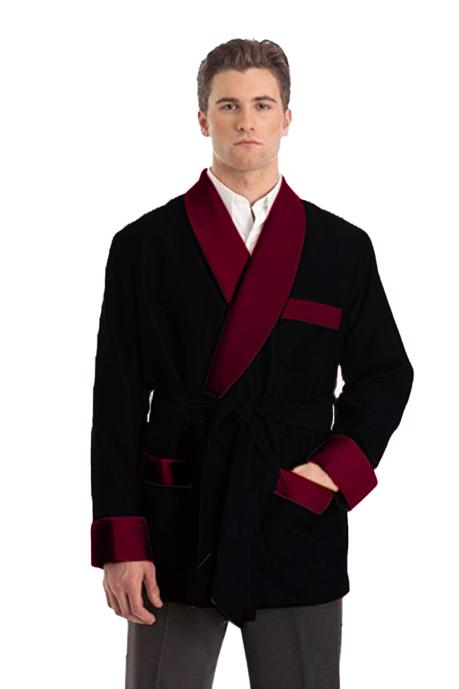 Silky Satin Smoking Jacket - Black with Burgundy Collar