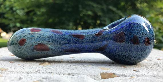 Heavy Glass Spoon KS17 - Blue Marbled