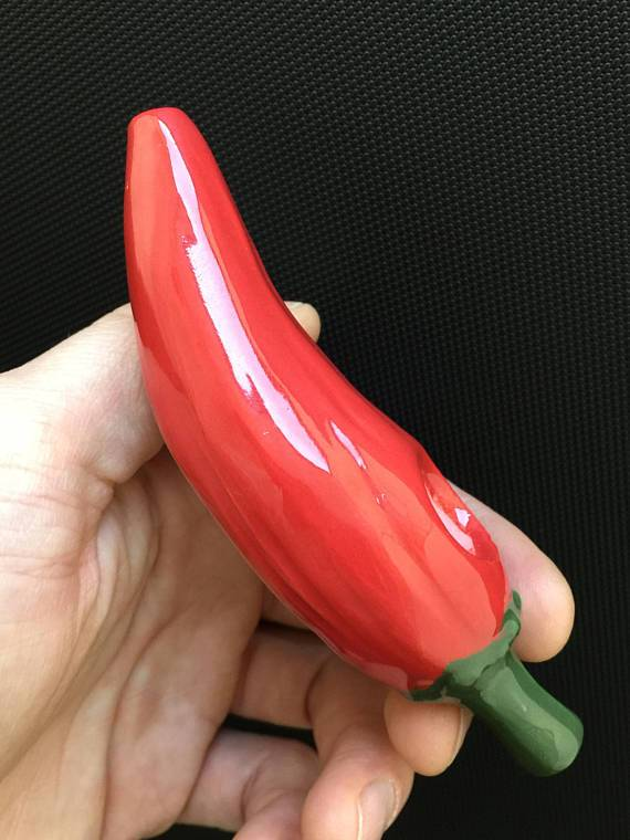 Ceramic Chili Pipe - Red & Green