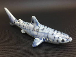 Large Ceramic Shark Pipe - Marbled Denim Glass Glazed