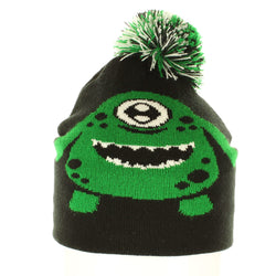 Knit Monster Beanie, Children's Fun Beanie, Green Monster Beanie