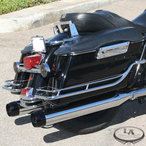 "TRU-POWER 4"" SLIP ON MUFFLERS WITH BLACK STEALTH TIPS FOR HD"